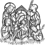 Art rending of the Nativity stained glass
